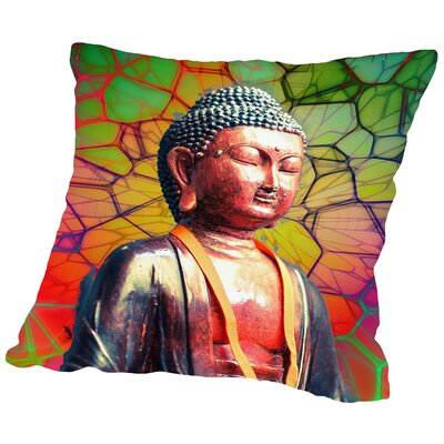 Buddha Mosaic Background Throw Pillow Size: 16