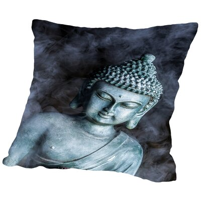 Buddha Smoke Symbol Throw Pillow Size: 14
