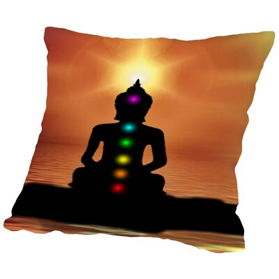 Buddha Sunset Throw Pillow Size: 18 H x 18 W x 2 D