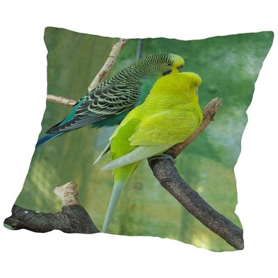 Budgie In The Nature Throw Pillow Size: 18 H x 18 W x 2 D