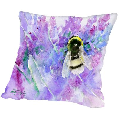 Bumblebee and lavender Throw Pillow Size: 14 H x 14 W x 2 D