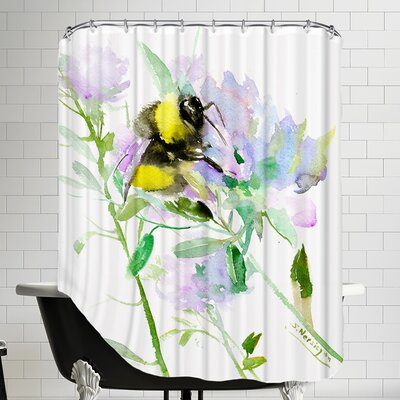 Bumblebee Flowers Shower Curtain