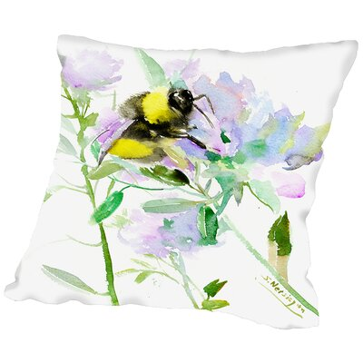 Bumblebee Flowers Throw Pillow Size: 16 H x 16 W x 2 D