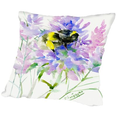 Bumblebee Flowers Throw Pillow Size: 18 H x 18 W x 2 D