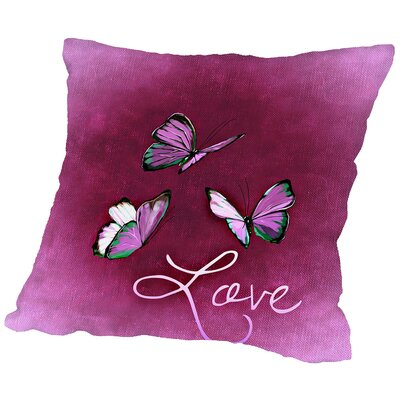 Butterfly Love Throw Pillow Size: 18 H x 18 W x 2 D