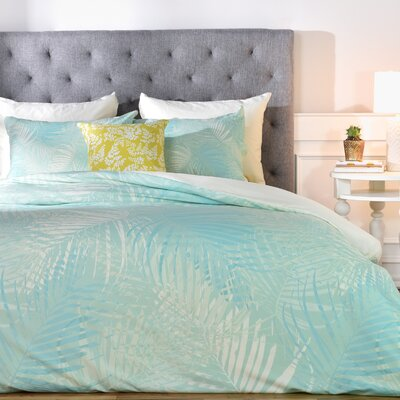 Pale Palm Duvet Cover Set Size: Queen