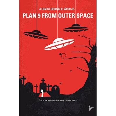 'Plan 9 from Outer Space Minimal Movie Poster' Vintage Advertisement on Wrapped Canvas USSC8238 33595313
