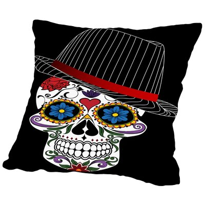 Hipster Horror Skull Halloween Throw Pillow Size: 16 H x 16 W x 2 D, Color: Pink