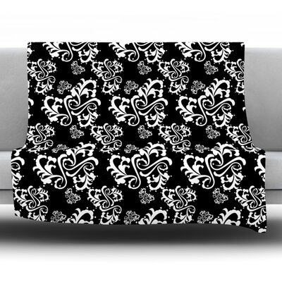 Sweetheart Damask by Mydeas Fleece Throw Blanket Size: 40 L x 30 W, Color: Black/Red