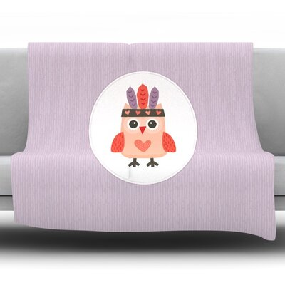 Hipster Owlet by Daisy Beatrice Fleece Throw Blanket Size: 40 L x 30 W