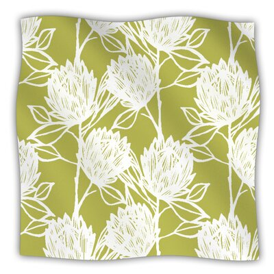 Protea Fleece Throw Blanket Size: 40 L x 30 W, Color: Olive White