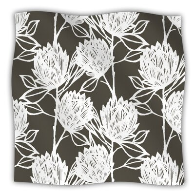 Protea Fleece Throw Blanket Color: Graphite White, Size: 40 L x 30 W