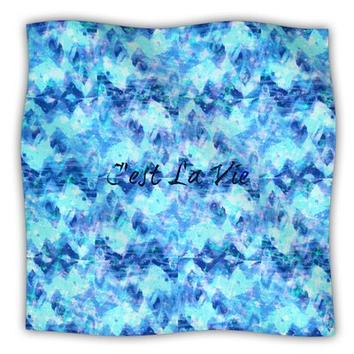 Cest La Vie Fleece Throw Blanket Size: 80 L x 60 W, Color: Blue