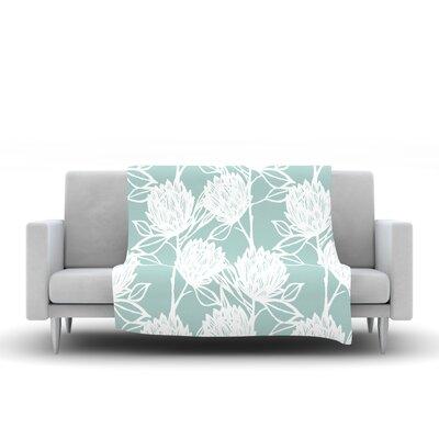 Protea Fleece Throw Blanket Color: Jade White