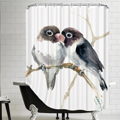 Gray Masked Lovebirds Shower Curtain