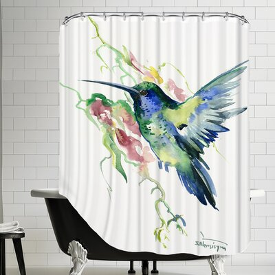 Hummingbird Indigo Shower Curtain