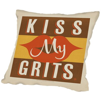 Kiss My Grits Throw Pillow Size: 18 H x 18 W x 2 D