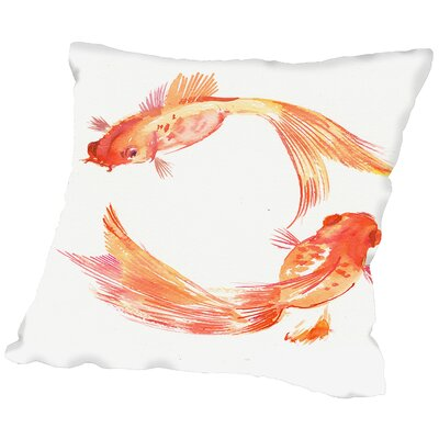 Godlfish Feng Shui Throw Pillow Size: 14 H x 14 W x 2 D