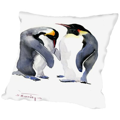 Emporer Penguins Throw Pillow Size: 18 H x 18 W x 2 D