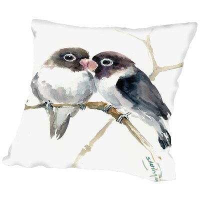 Gray Masked Lovebirds Throw Pillow Size: 16 H x 16 W x 2 D