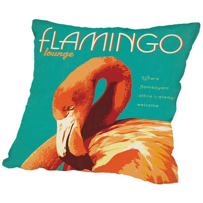 Flamingo Lounge Throw Pillow Size: 18 H x 18 W x 2 D