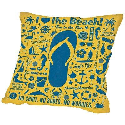 Flipflop Throw Pillow Size: 14 H x 14 W x 2 D