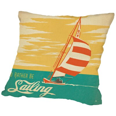 Idrather Be Sailing Throw Pillow Size: 16