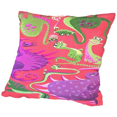 Dinogouache Throw Pillow Size: 18 H x 18 W x 2 D