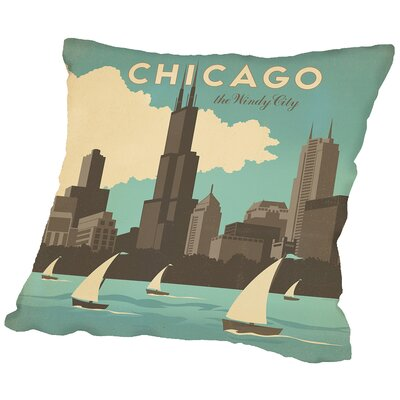 Chicago Windy Throw Pillow Size: 20 H x 20 W x 2 D
