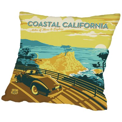 Coastal Ca Throw Pillow Size: 16 H x 16 W x 2 D