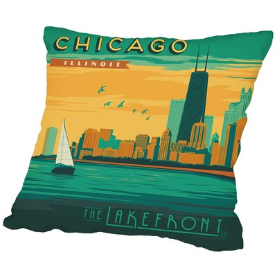Chicago Lakefront Throw Pillow Size: 16 H x 16 W x 2 D