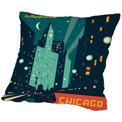 Chicago Mag Mile Throw Pillow Size: 14 H x 14 W x 2 D