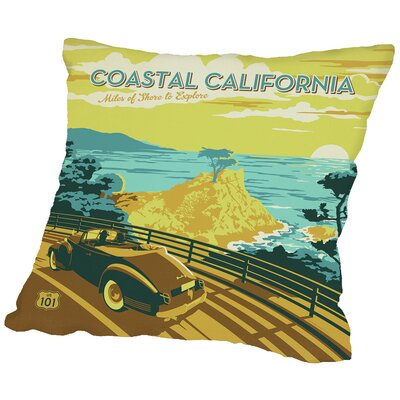 Coastal Ca Throw Pillow Size: 14 H x 14 W x 2 D