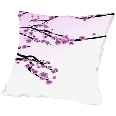 Cherry Blossom Sakura Throw Pillow Size: 18 H x 18 W x 2 D