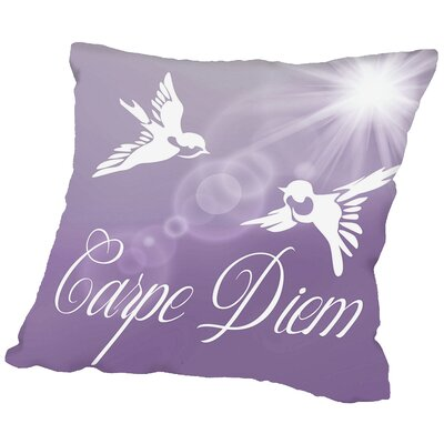 Carpe Diem Birds Throw Pillow Size: 14 H x 14 W x 2 D