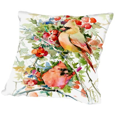 Cardinal Birds Throw Pillow Size: 16 H x 16 W x 2 D