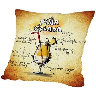 Pina Colada Cocktail Throw Pillow Size: 16 H x 16 W x 2 D