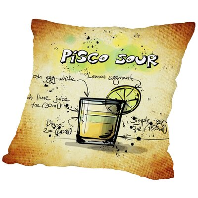 Pisco Sour Cocktail Throw Pillow Size: 20 H x 20 W x 2 D