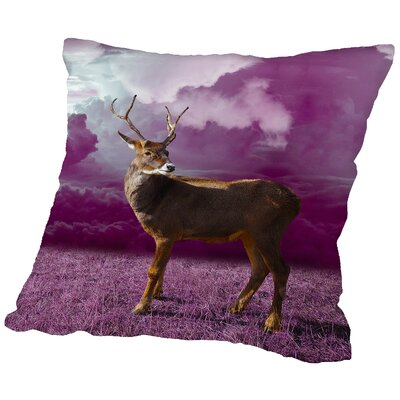 Clouds Deer Throw Pillow Size: 16 H x 16 W x 2 D