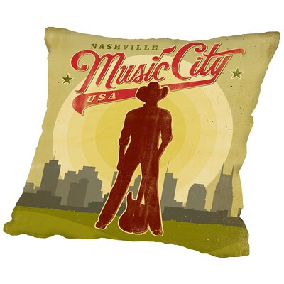 Music City Throw Pillow Size: 16 H x 16 W x 2 D