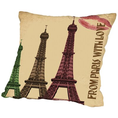 Paris France Throw Pillow Size: 14 H x 14 W x 2 D