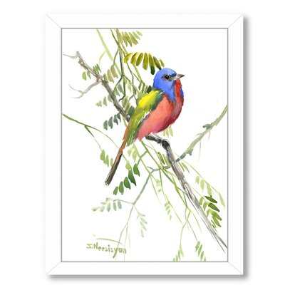 """Painted Bunting  Framed Painting Print Size: 15"""" H x 12"""" W x 1"""" D ESHM6201 34320077"""