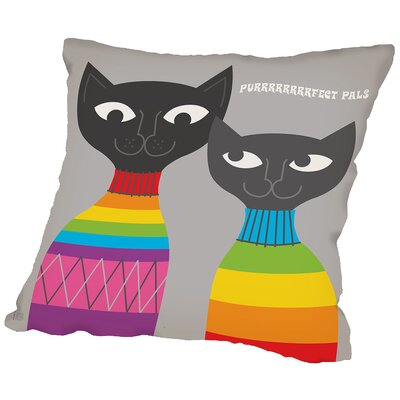 Rainbow Cats Throw Pillow Size: 16 H x 16 W x 2 D