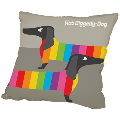Rainbow Dogs Throw Pillow Size: 16 H x 16 W x 2 D