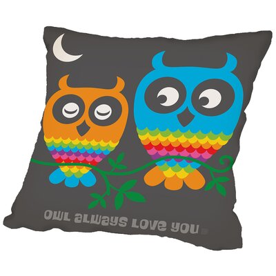 Rainbow Owls Throw Pillow Size: 14