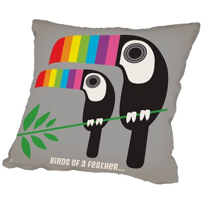 Rainbow Toucans Throw Pillow Size: 18 H x 18 W x 2 D