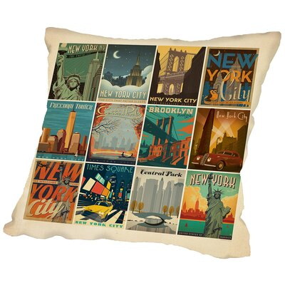 NYC Border Throw Pillow Size: 16 H x 16 W x 2 D