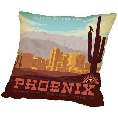 Phoenix Throw Pillow Size: 16 H x 16 W x 2 D