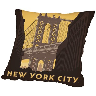 NYC Manhattan Bridge Throw Pillow Size: 18 H x 18 W x 2 D