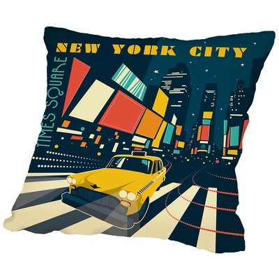 NYC Times Throw Pillow Size: 16 H x 16 W x 2 D